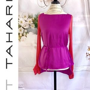 T Tahari Purple Blouse with Cut Out Sleeves